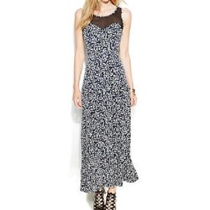 VINCE CAMUTO Printed Maxi Dress w/ Sheer Contrast